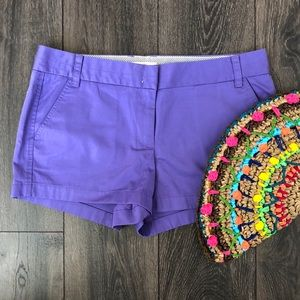 Purple Cotton Chino Shorts